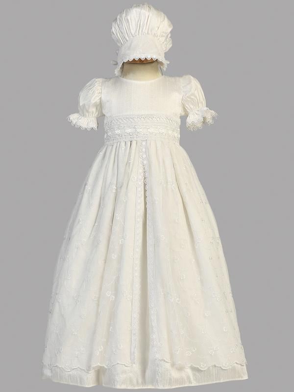 1460287d33c Silk Baptism Gown With Lace Overlay - Grandma s Little Darlings