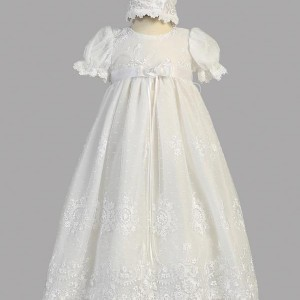 Embroidered Soft Tulle Long Baptism Gown
