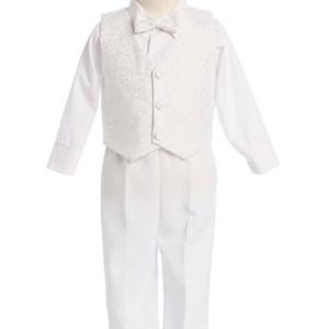 Boys Paisley Print Vest Set Cotton-Poly Mix