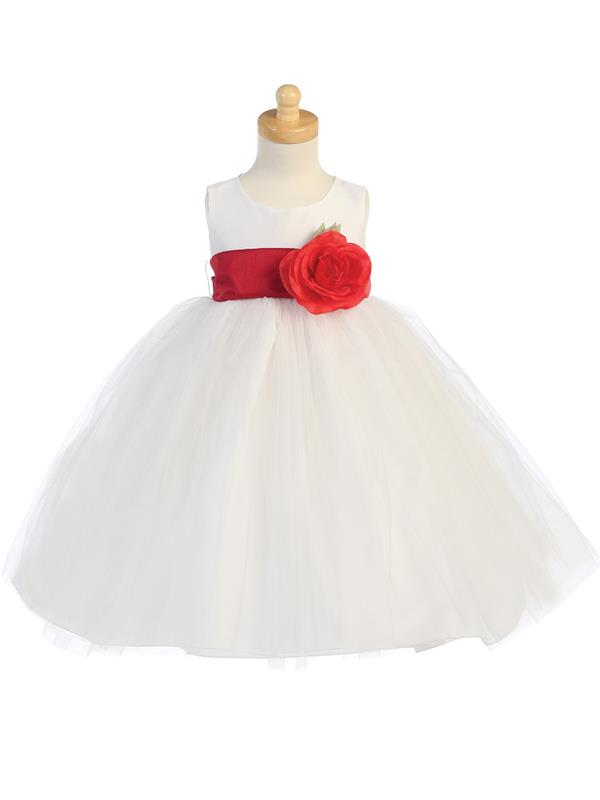 3292e87e5be Tutu Flower Girl Dress White - Customise Sash Colour - Grandma s ...