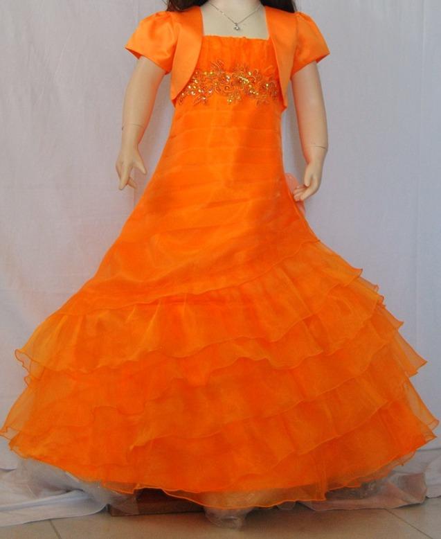 e34ef0c9f Flamingo Girls Long Gown - Orange - Grandma s Little Darlings