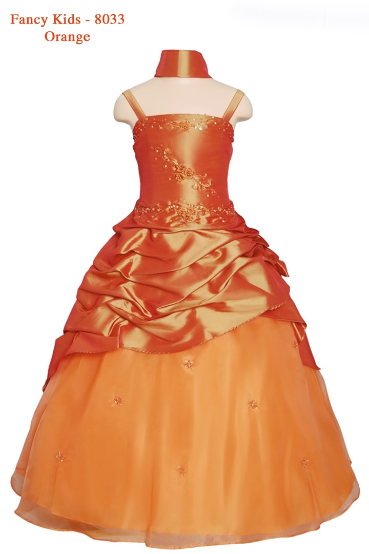 Girls Ball Gown Orange - Grandma\'s Little Darlings