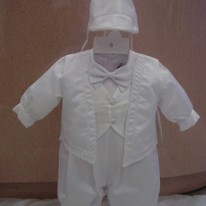 Baptism Romper With Vest Overlay