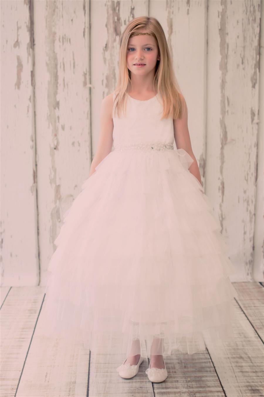 Mesh Layered Flower Girl Dress White Grandmas Little Darlings