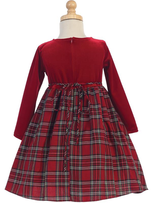 Plaid Amp Velvet Girls Holiday Dress Red Grandma S