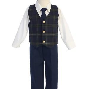 Plaid Boys Vest Set
