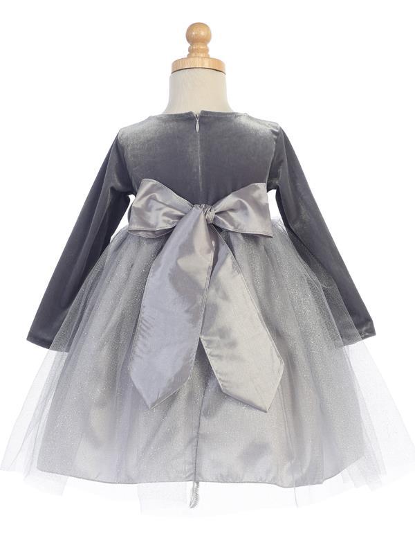 9b13acc3f009 Velvet & Glitter Tulle Holiday Dress -Silver - Grandma's Little Darlings