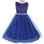 """Beautiful"" square jeweled belt girls dress"