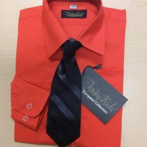 Boys Long Sleeve Dress Shirt & Tie