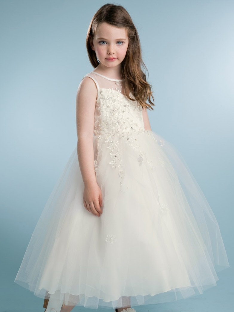7e8032227 Peekaboo Scattered Floral Flower Girl Dress -Ivory - Grandma's Little ...