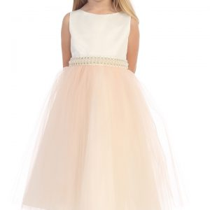ca606d8a3 A Elegant Diamond & Pearl Waist Girls Flower Girl Dress - Blush Pink ...
