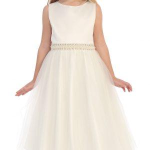pearl waist girls flower girl dress