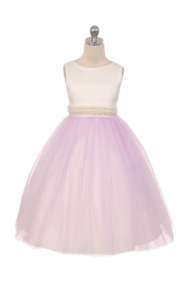 27baaa2f2ab3 A Elegant Diamond & Pearl Waist Girls Flower Girl Dress - Lilac ...