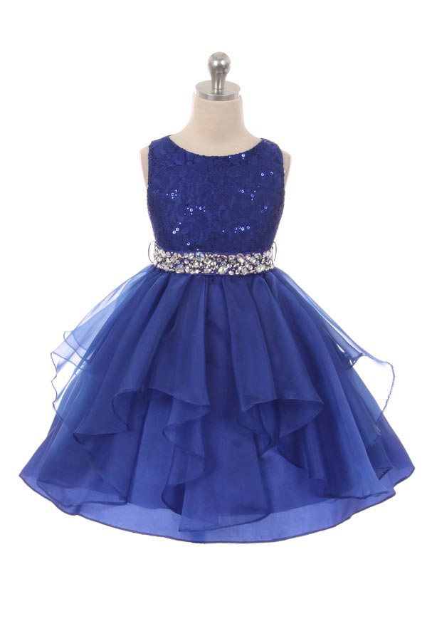 494e86d288c0 All Over Bling Girls Dress With Rhinestone Belt - Royal Blue ...