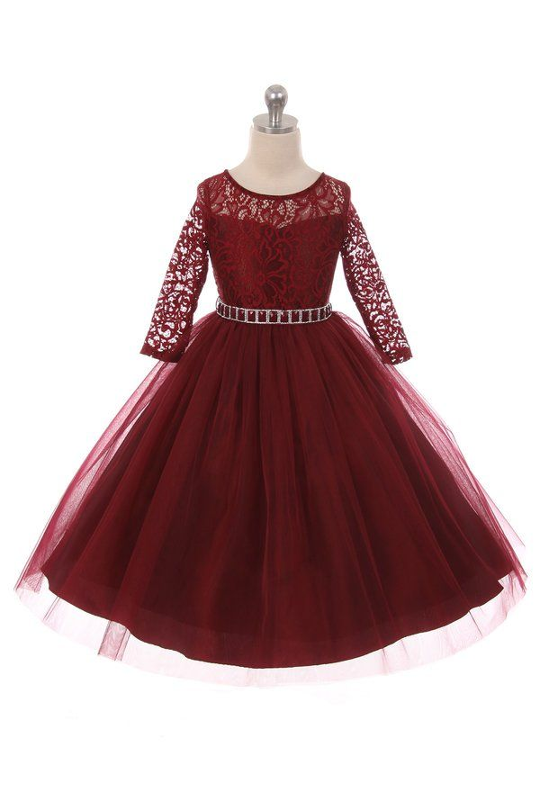 4aa751bafca0 Long Sleeve Stretchy Lace Girls Dress - Burgundy - Grandma s Little ...