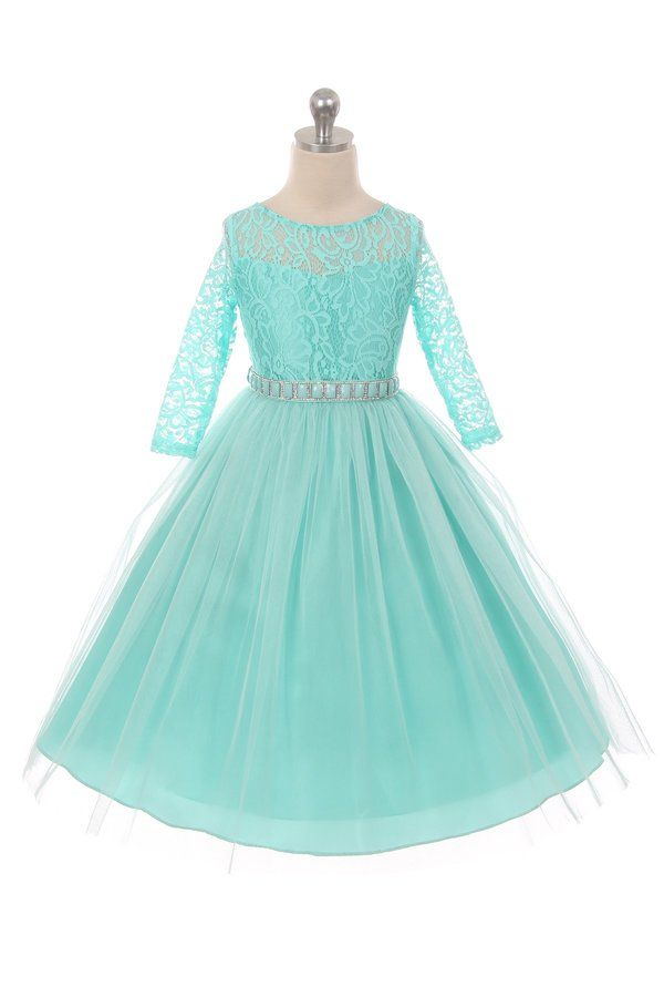 Long Sleeve Stretchy Lace Girls Dress - Tiffany Blue - Grandma\'s ...