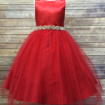Swirl Crystal Belt Girls Dress