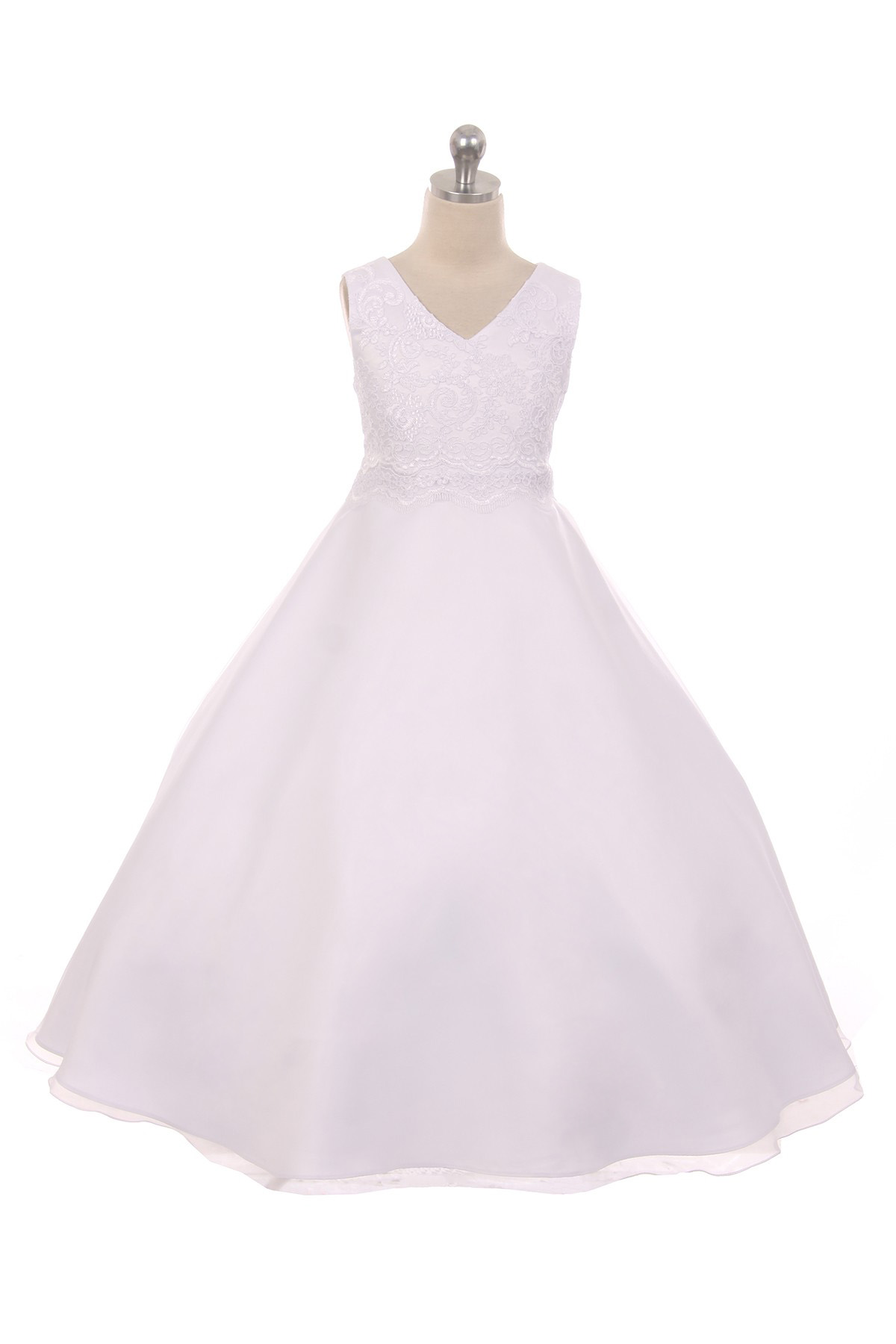 d69eab03f3fc Appliqué Lace Bodice Full Girls Dress - White - Grandma s Little Darlings