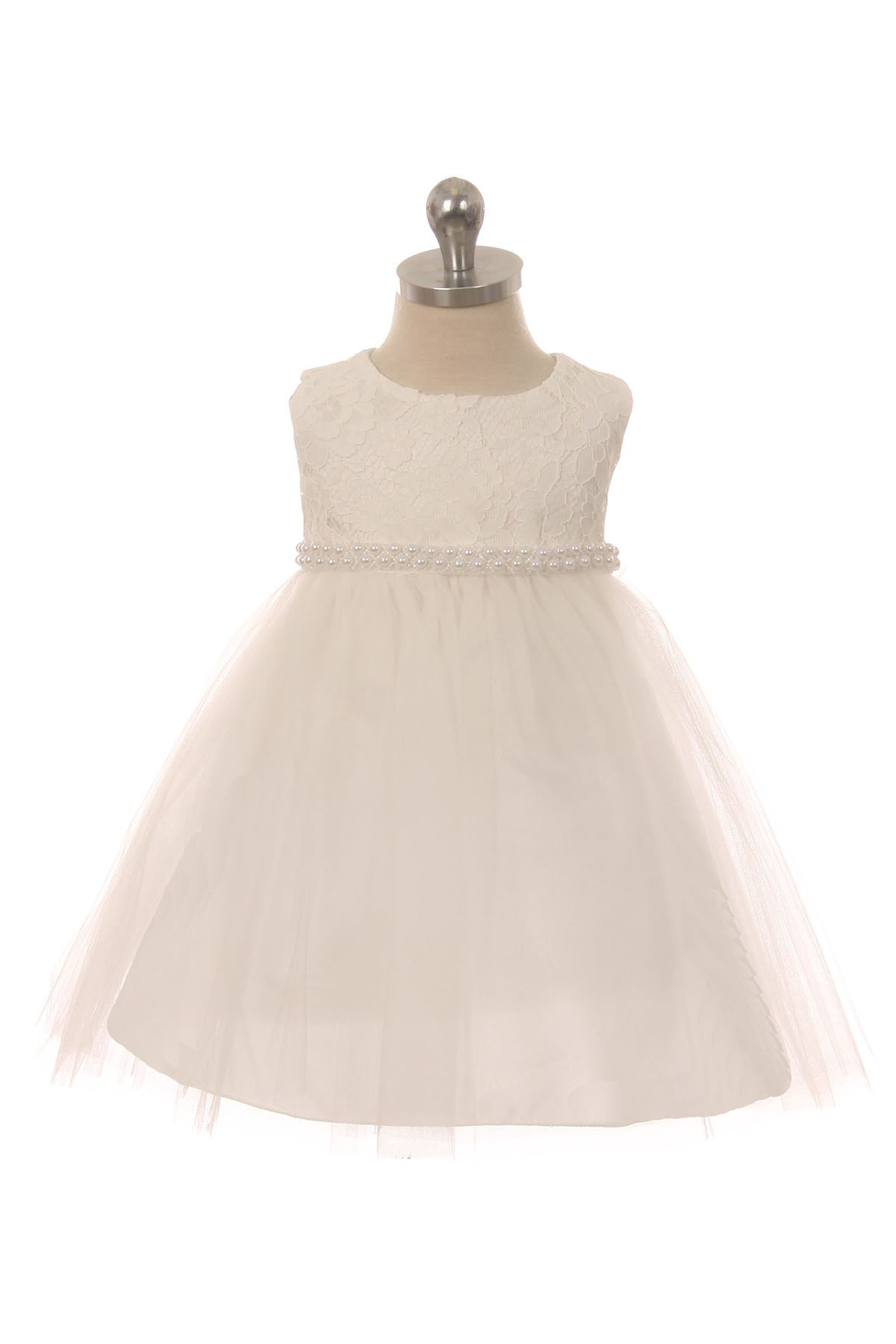 3ea9733174a8 Anastasia Baby Girls Lace Top Dress - Off White - Pearl Trim ...