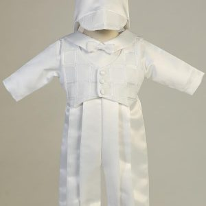 Boys Baptismal Romper with Organza Plaid Vest