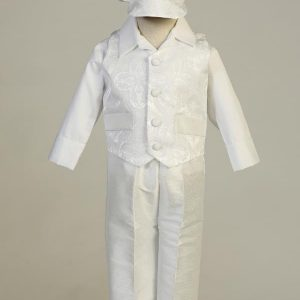 Boys Baptismal Brocade Vest Set
