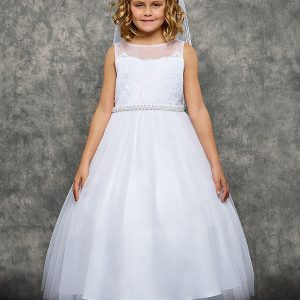 Venetian lace illusion First Communion gown,