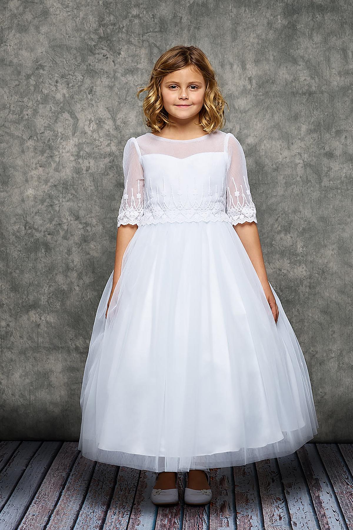 A Embroidery Mesh Half Sleeve Girls Dress -White - Grandma ...